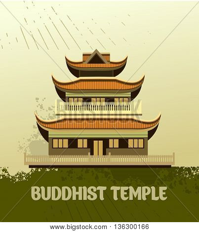 vector illustration of an old Buddhist temple with a grunge effect