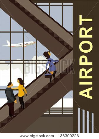 vector illustration of the airport building people move up the escalator