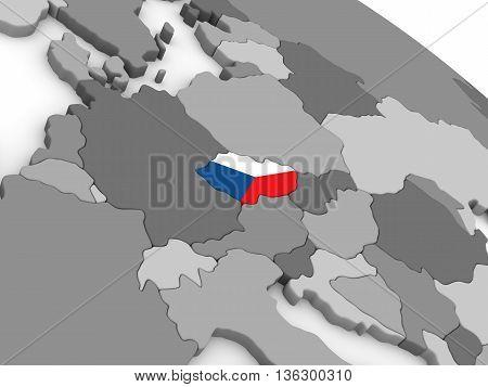 Czech Republic On Globe With Flag