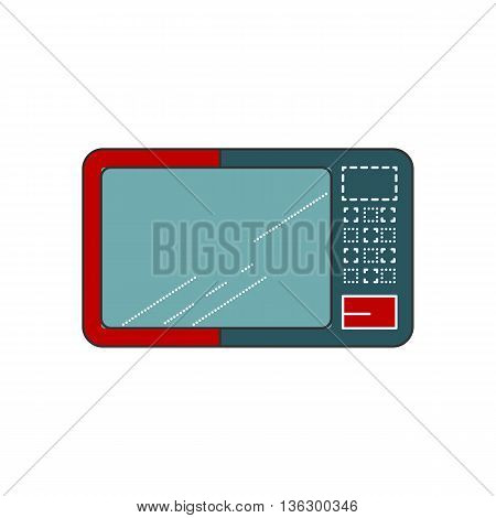 Microwave Line Flat Icon. Modern simple illustration of Microwave. Isolated object on white background. Red and blue stove.