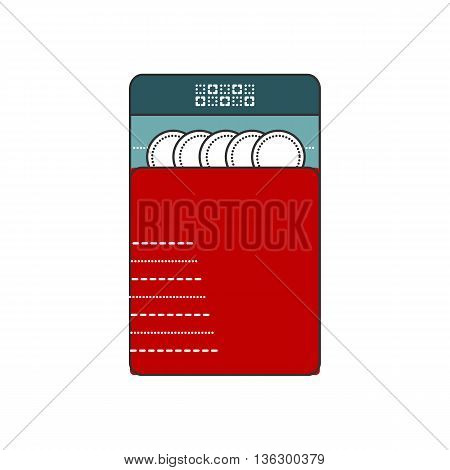 Dishwasher flat Icon. Modern and simple isolated dish washer. Line and filled icon. Clear white dishes.