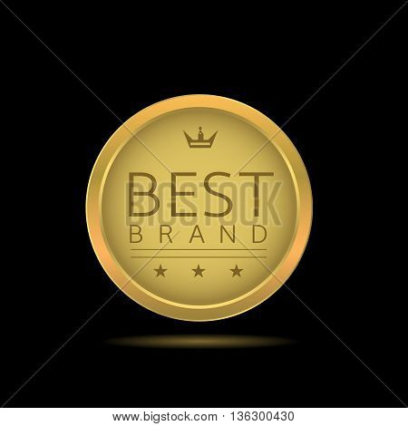 Best brand label. Golden badge with stars and crown, Original product