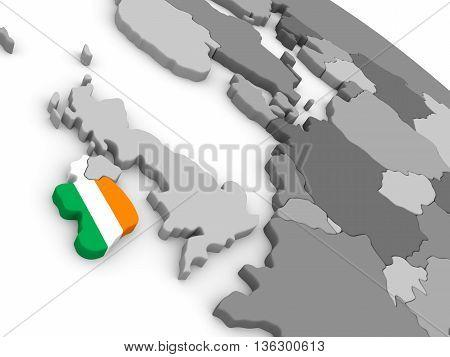 Ireland On Globe With Flag