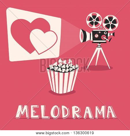 Melodrama in the cinema. Romantic film with popcorn. Amorous movie on an old projector