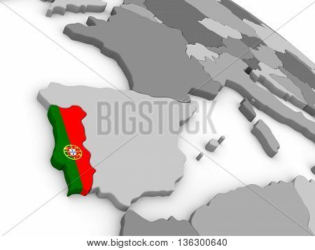 Portugal On Globe With Flag