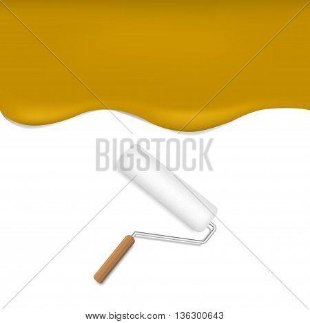 Orange background. Orange paint. Orange wallpaper. Realistic roller brush