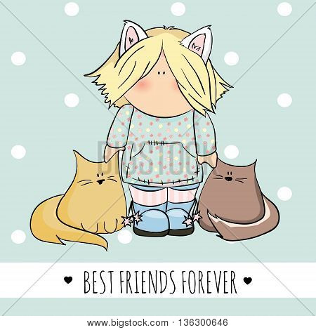 cute girl with cats doodle illustration. friendship day. blue background. congratulation card
