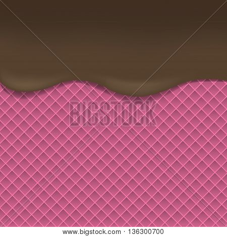 Pink Wafer background with dark chocolate. Dark chocolate. Tasty dessert