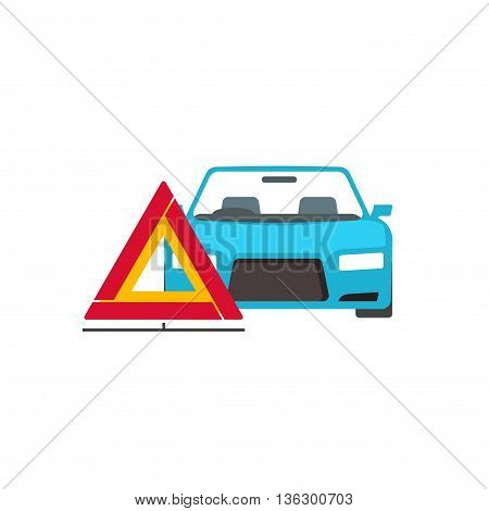 Red triangle emergency sign near broken car vector illustration isolated on white background
