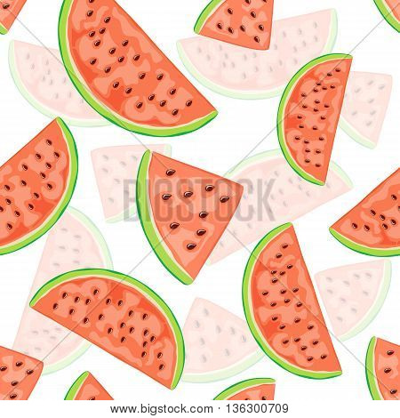 Seamless background with red juicy watermelon slices, wallpaper with ripe fruit on white background, illustration.