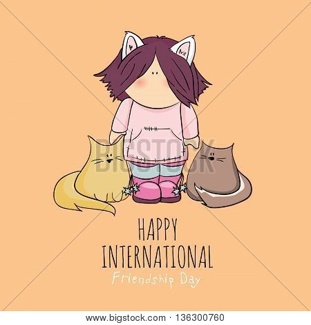 cute girl with cats doodle illustration. friendship day. orange background.