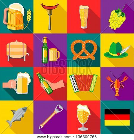 Octoberfest icons set in flat style for any design