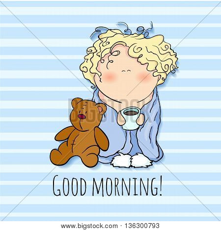 good morning. little cute character holding cup of coffee. toy bear, blue background, the bobblehead with curled hair. wish card
