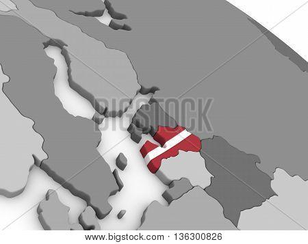 Latvia On Globe With Flag