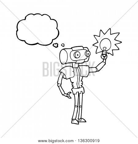 freehand drawn thought bubble cartoon robot with light bulb