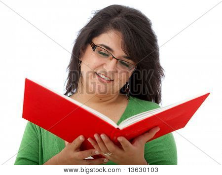 Woman studying with a book isolated on white