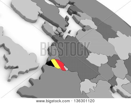Belgium On Globe With Flag