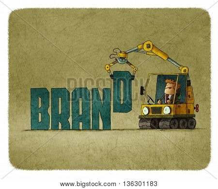 Illustration of man in machine creating word brand.