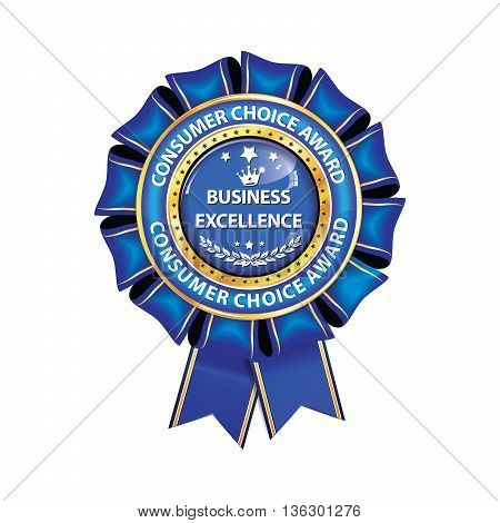Business excellence, Consumers choice award - shiny blue award ribbon. Print colors used