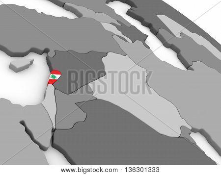 Lebanon On Globe With Flag