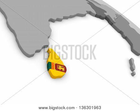Sri Lanka On Globe With Flag