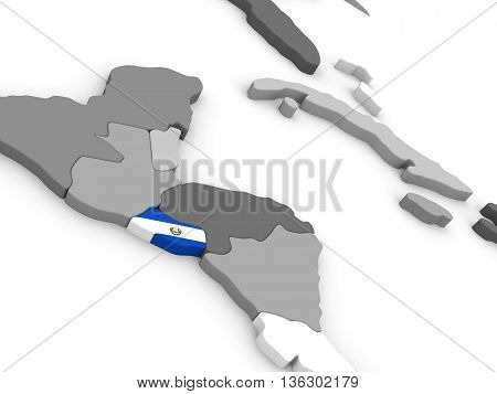 El Salvador On Globe With Flag