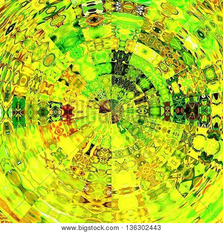 art abstract graphic spherical grunge colored background in green, yellow gold and red colors; geometric pattern