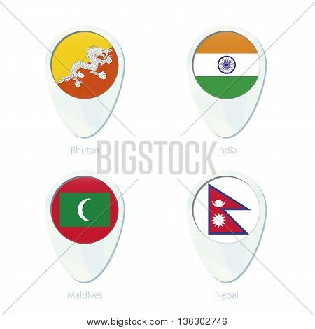 Bhutan, India, Maldives, Nepal Flag Location Map Pin Icon.
