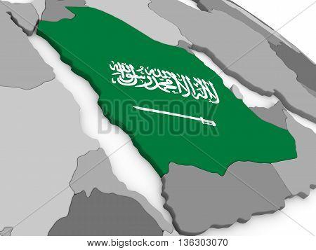 Saudi Arabia On Globe With Flag