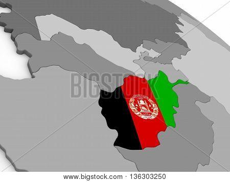 Afghanistan On Globe With Flag
