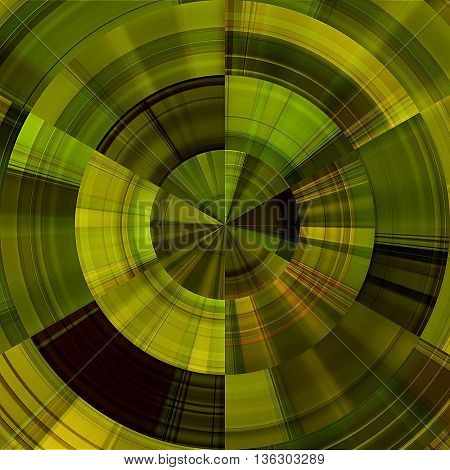 art abstract graphic spherical monochrome grunge background in green, old gold, olive, brown and yellow colors; geometric pattern