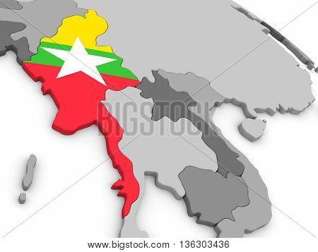 Myanmar On Globe With Flag