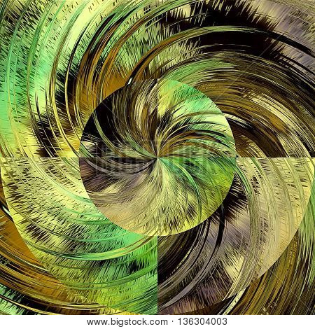 art abstract graphic spherical grunge colored background in green, brown, old gold and black colors; geometric pattern