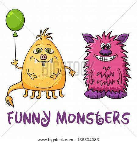 Set of Cute Different Cartoon Monsters, Colorful Characters with Toy Balloon, Elements for your Design, Prints and Banners, Isolated on White Background. Vector