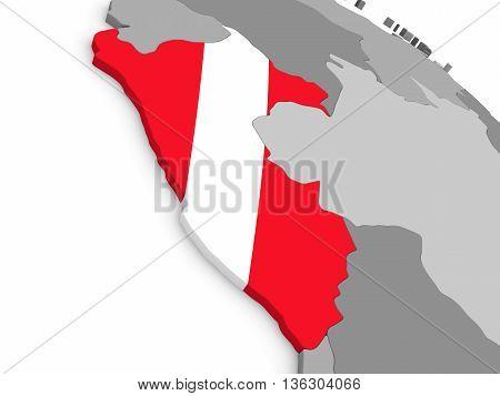 Peru On Globe With Flag