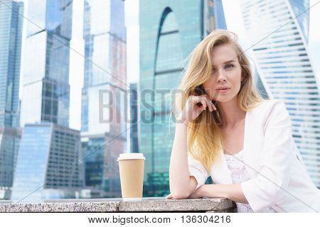 Portrait of a young confident business woman outdoor