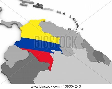 Colombia On Globe With Flag