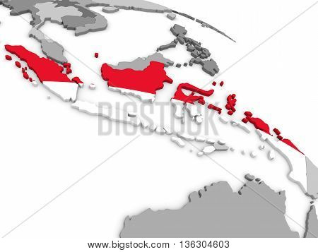 Indonesia On Globe With Flag