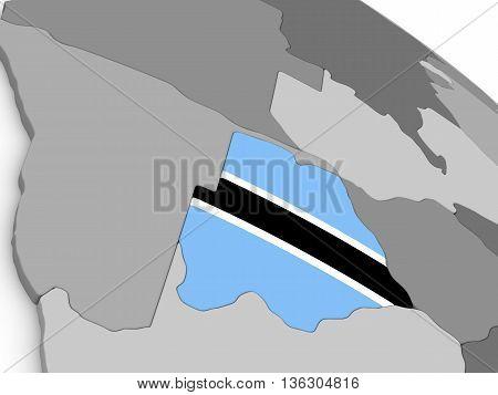 Botswana On Globe With Flag