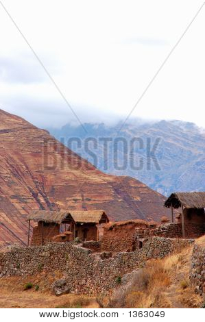Pisac Ruins In The Sacred Valley And Andes Mountains