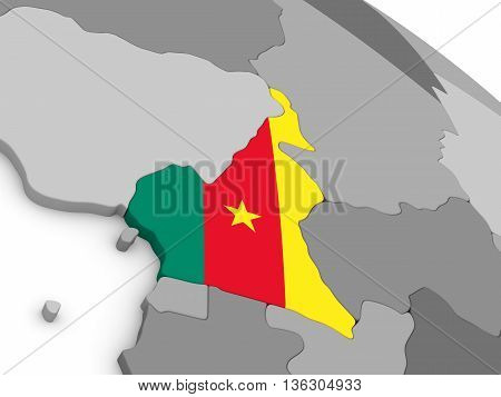 Cameroon On Globe With Flag