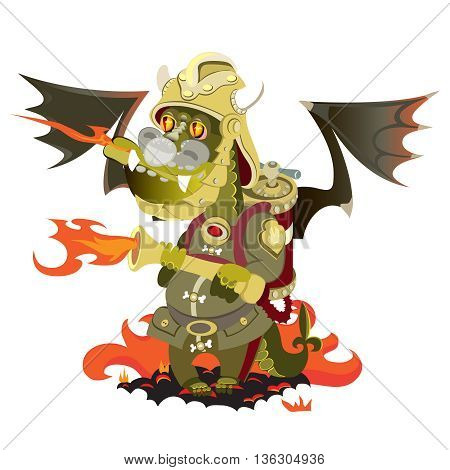 Dragon in a fire that puts out fire.vector