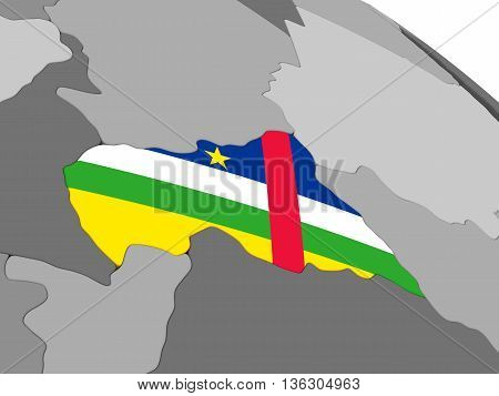 Central Africa On Globe With Flag