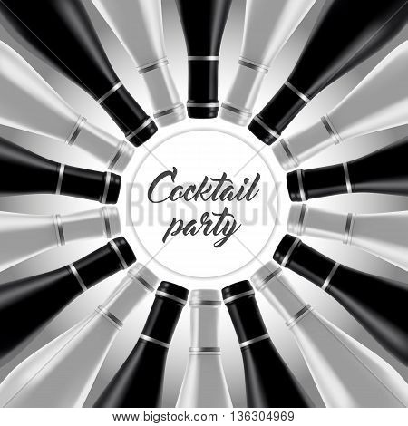 Black and white design for cocktail invitation or menu bar with cocktail bottles.