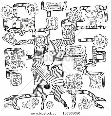 Artistically tree, owls, birds, flowers, clothes buttons. Zentangle. Sketch by trace. Hand-drawn tribal, ethnic, floral, doodle, tribal design element. Black and white. For coloring book in vector