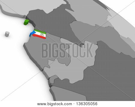 Equatorial Guinea On Globe With Flag