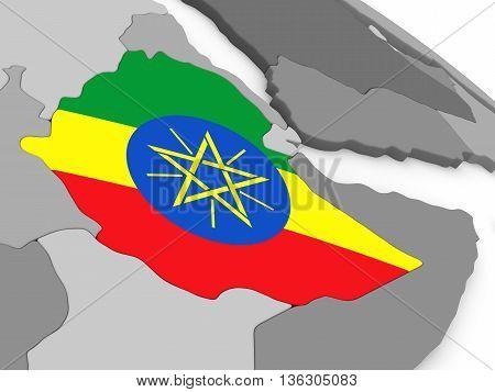 Ethiopia On Globe With Flag