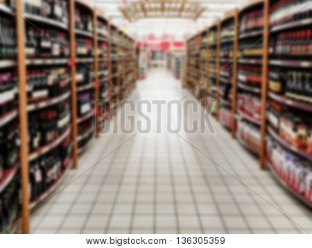 defocused blurry lane of wine in Supermarket