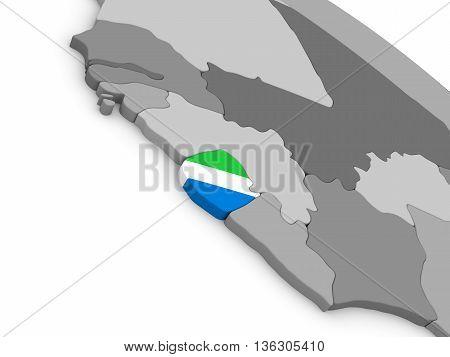 Sierra Leone On Globe With Flag