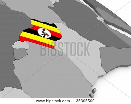 Uganda On Globe With Flag